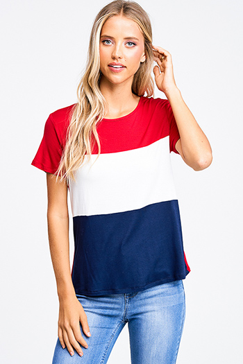 $15 - Cute cheap navy blue rust plaid pocket front button long sleeve up boho blouse top - Red navy blue color block short sleeve boho tee shirt top