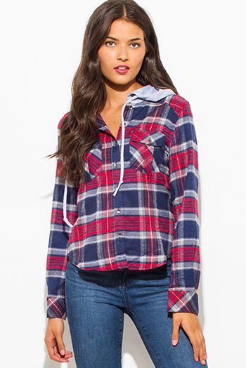 $20 - Cute cheap red slit top - red navy blue plaid flannel long sleeve button up hooded top