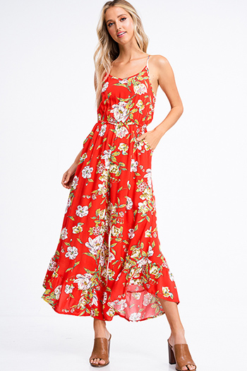 $20 - Cute cheap v neck slit jumpsuit - Red orange floral print sleeveless wide leg ruffled hem pocketed boho jumpsuit