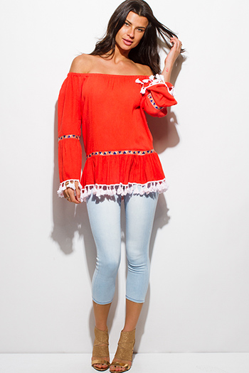 $15 - Cute cheap khaki beige rayon gauze embroidered crochet trim panel quarter sleeve boho peasant blouse top - Red orange rayon gauze off shoulder bell sleeve tassel fringe boho blouse top
