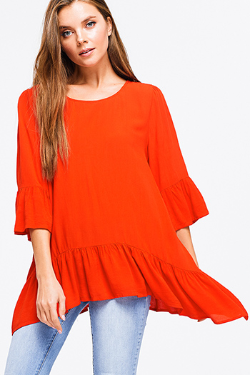 $15 - Cute cheap boho quarter sleeve jumpsuit - Red orange ruffled quarter bell sleeve round neck boho tunic top