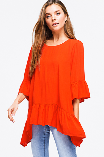 $12 - Cute cheap mustard green long sleeve scoop neck crochet sweater knit fringe hem boho top - Red orange ruffled quarter bell sleeve round neck boho tunic top