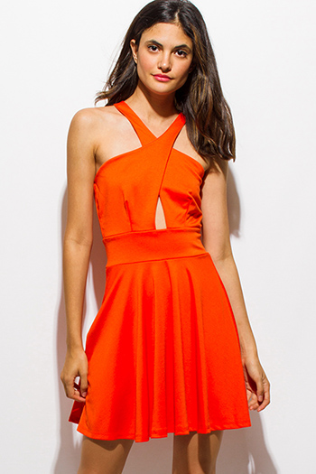 $15 - Cute cheap mesh open back fitted sexy party jumpsuit - red orange wrap front halter a line cut out back skater party cocktail mini dress