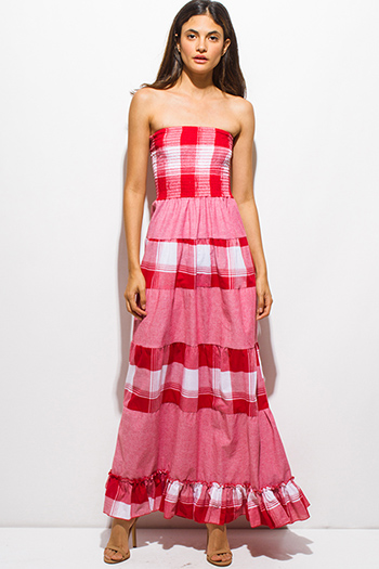$15 - Cute cheap ruffle formal sun dress - red plaid color block smocked strapless long boho maxi sun dress