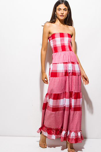 $15 - Cute cheap boho wrap dress - red plaid color block smocked strapless long boho maxi sun dress