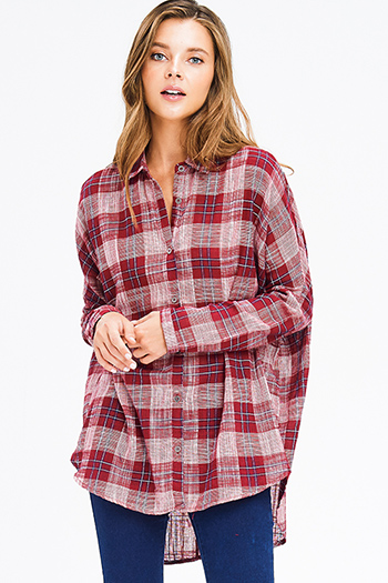 $18 - Cute cheap cotton sweater - red plaid cotton gauze long sleeve high low button up tunic blouse top