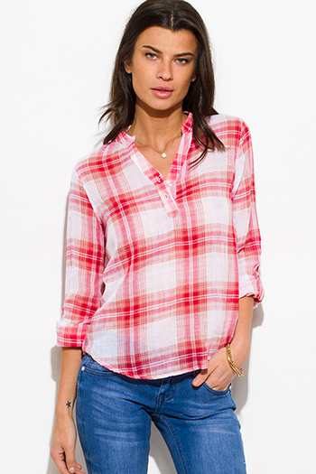 $10 - Cute cheap white checker grid print button up long sleeve boho blouse top - red plaid cotton gauze quarter sleeve button up blouse top