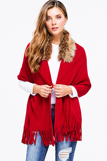 $20 - Cute cheap print fringe cardigan - Red ribbed sweater knit fringe trim faux fur collar shawl cardigan poncho top
