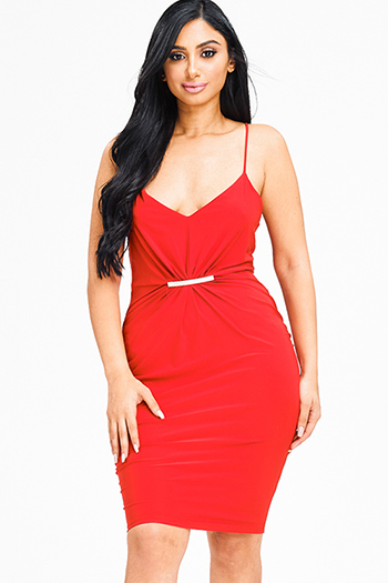 $15 - Cute cheap metallic slit dress - red ruched spaghetti strap racer back fitted sexy clubbing pencil mini dress