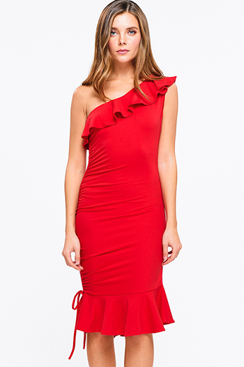 $20 - Cute cheap navy blue shift dress - Red ruffled one shoulder ruched mermaid fitted sexy club party midi dress