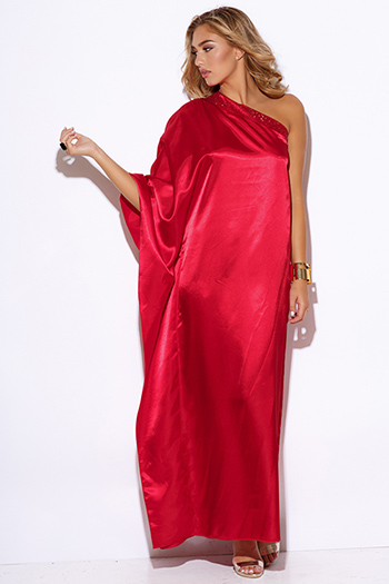 $15 - Cute cheap bejeweled formal maxi dress - red satin bejeweled one shoulder kimono sleeve formal evening sexy party maxi dress
