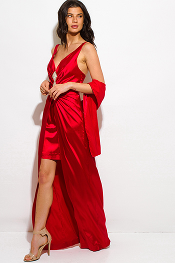 $30 - Cute cheap red fitted sexy party romper - red satin embellished high low formal gown evening party dress