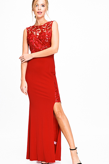 $30 - Cute cheap slit evening sun dress - Red sequined cut out sleeveless high slit ruched back formal fitted sheath evening gown
