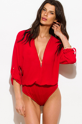 $15 - Cute cheap v neck fitted sexy club catsuit - red sheer chiffon deep v neck zip up quarter sleeve club bodysuit top