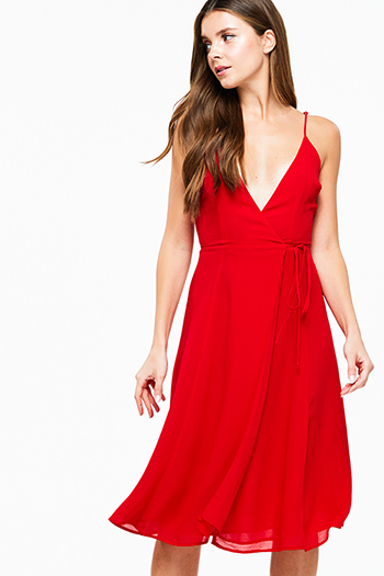 $15 - Cute cheap print pocketed dress - Red sleeveless deep v neck a line cocktail sexy party midi wrap dress