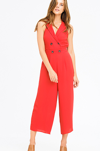 $20 - Cute cheap olive green ribbed knit button embellished evening wide leg capri pants - red sleeveless halter backless wide leg cocktail sexy party evening jumpsuit