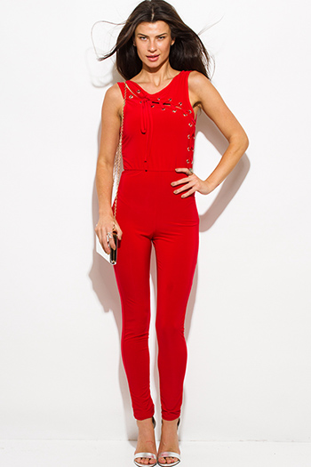 $25 - Cute cheap mesh backless open back fitted sexy club jumpsuit - red sleeveless laceup eyelet trim open back bodycon clubbing fitted catsuit jumpsuit