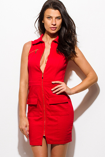 $15 - Cute cheap v neck sexy club mini dress - red sleevess zip up cargo pencil fitted mini club dress