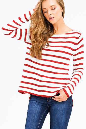 $15 - Cute cheap sheer boho top - red striped knit long sleeve zipper back boho nautical sweater top