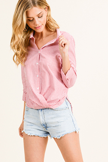 $15 - Cute cheap pink ruffle boho top - Red striped long sleeve twist front crossover hem boho button up blouse top