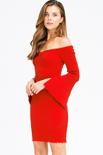 $20 - Cute cheap long sleeve party dress - red sweater ribbed knit off shoulder long slit bell sleeve fitted bodycon sexy club midi dress