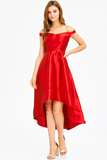 $25 - Cute cheap bell sleeve midi dress - red sweetheart neck off shoulder high low hem formal gown evening sexy party dress