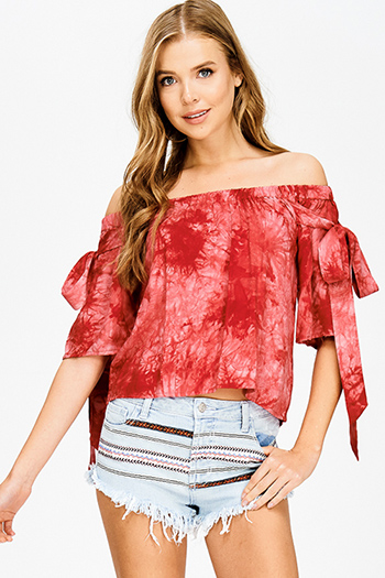 $15 - Cute cheap lime green sheer gauze pom pom textured boho beach cover up tunic top - red tie dye off shoulder short sleeve tie boho sexy party blouse top