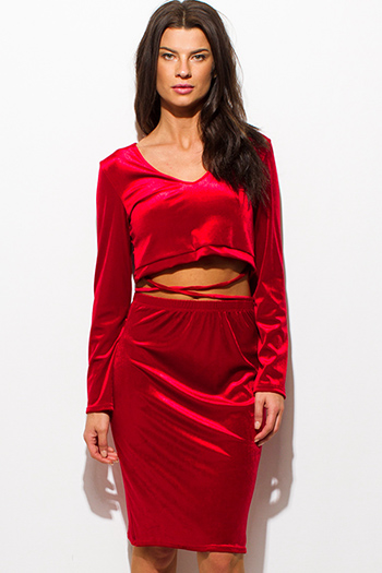 $15 - Cute cheap backless fitted midi dress - red velvet long sleeve crop top criss cross caged front sexy clubbing two piece set midi dress