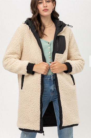 $31.00 - Cute cheap reversible contrast long coat