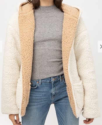$34.50 - Cute cheap top - Reversible Teddy Faux Fur Sherpa Fleece Jacket