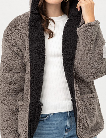 $34.50 - Cute cheap Reversible Teddy Faux Fur Sherpa Fleece Jacket