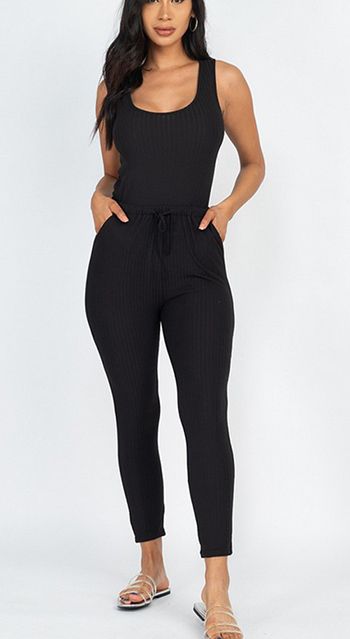 $17.00 - Cute cheap jumpsuit - ribbed sleveless drawstring jumpsuit