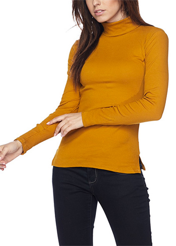 $11.50 - Cute cheap red long sleeve tunic - ribbed turtleneck long sleeve top