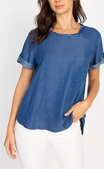 $13.50 - Cute cheap square necksolid puff top - roll-up sleeves denim top