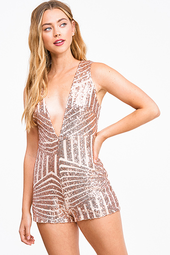 $20 - Cute cheap ruched sexy club mini dress - Rose gold sequined deep v neck sleeveless zip up back club romper jumpsuit