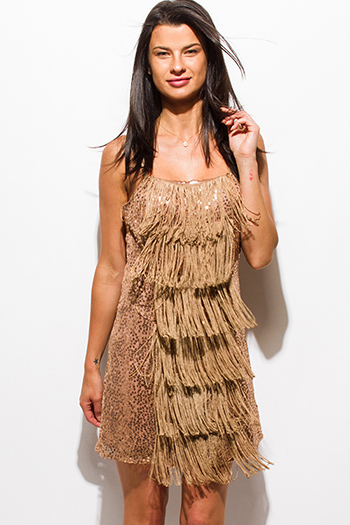 $20 - Cute cheap gold metallic bandage bodycon fitted sexy clubbing mini skirt - rose gold sequined fringe trim spaghetti strap cocktail party mini dress
