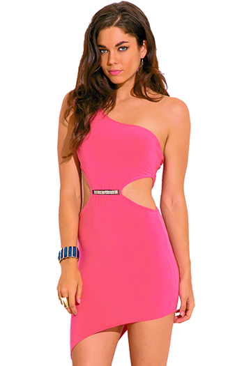 $7 - Cute cheap pink fitted cocktail dress - rose hot pink cut out one shoulder bejeweled asymmetrical fitted sexy club mini dress