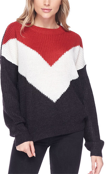 $17.50 - Cute cheap red long sleeve tunic - round neck long sleeve chevron colorblock sweater