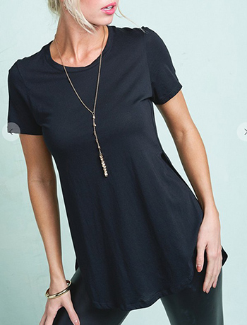 $9.50 - Cute cheap round neck short sleeve side slit curved hem tee shirt tunic top