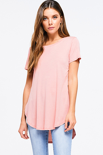 $9.50 - Cute cheap red long sleeve tunic - round neck short sleeve side slit curved hem tee shirt tunic top
