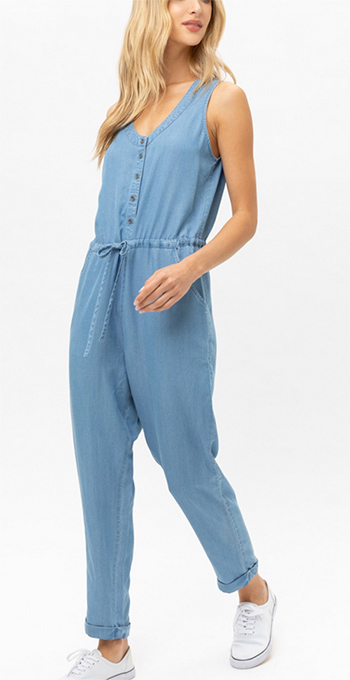 $23.50 - Cute cheap round neck with button down sleveless jumpsuit