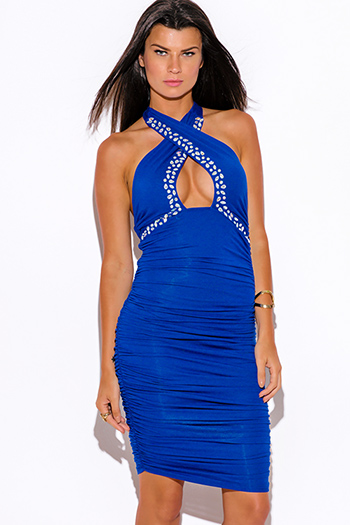 $9 - Cute cheap backless fitted midi dress - royal blue bejeweled ruched fitted wrapped neck halter formal cocktail party sexy club midi dress