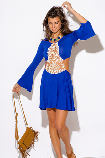 $10 - Cute cheap blue washed chambray sleeveless button up flare skater mini shirt dress - royal blue crochet cut out backless bell sleeve boho summer sexy party mini dress