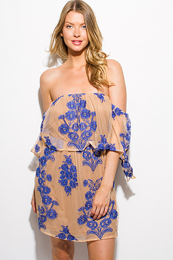 $15 - Cute cheap boho crochet open back mini dress - royal blue floral embroidered tan mesh off shoulder tie sleeve cocktail sexy party boho mini dress