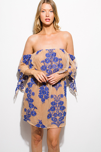 $10 - Cute cheap fitted cocktail mini dress - royal blue floral embroidered tan mesh off shoulder tie sleeve cocktail sexy party boho mini dress