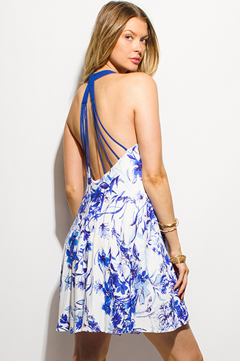 $15 - Cute cheap blue v neck mini dress - royal blue floral print chiffon halter caged backless boho swing mini sun dress