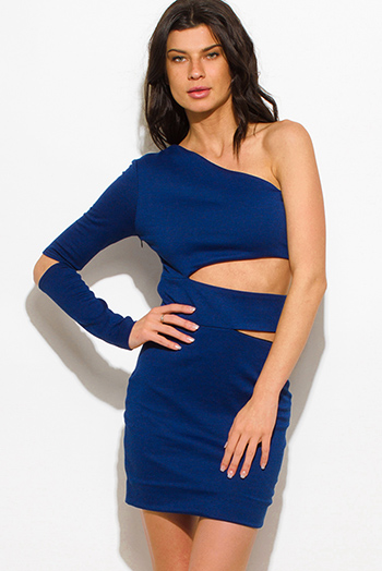 $20 - Cute cheap chiffon cut out blouse - royal blue houndstooth print one shoulder cut out bodycon mini dress