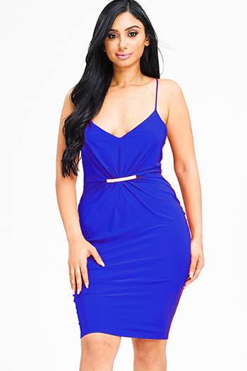 $15 - Cute cheap slit bodycon dress - royal blue ruched spaghetti strap racer back fitted sexy clubbing pencil mini dress