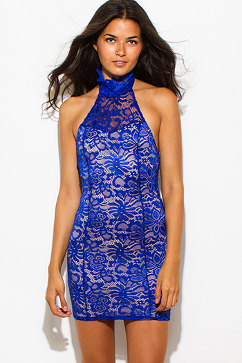 $15 - Cute cheap backless fitted midi dress - royal blue sheer lace overlay high halter neck backless bodycon fitted mini sexy club dress