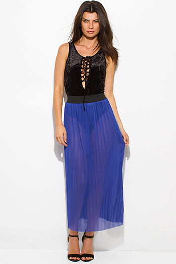 $15 - Cute cheap blue sheer sexy party top - royal blue sheer mesh tulle banded pleated evening party maxi skirt